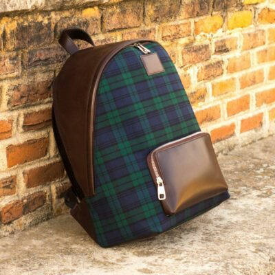 Custom Made Backpack in Dark Brown Painted Calf Leather and Blackwatch