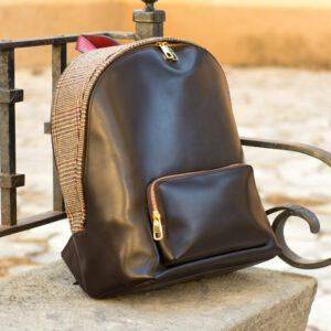 Custom Made Backpack in Dark Brown Painted Calf and Tweed