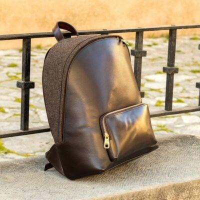 Custom Made Backpack in Dark Brown Painted Full Grain and Herringbone