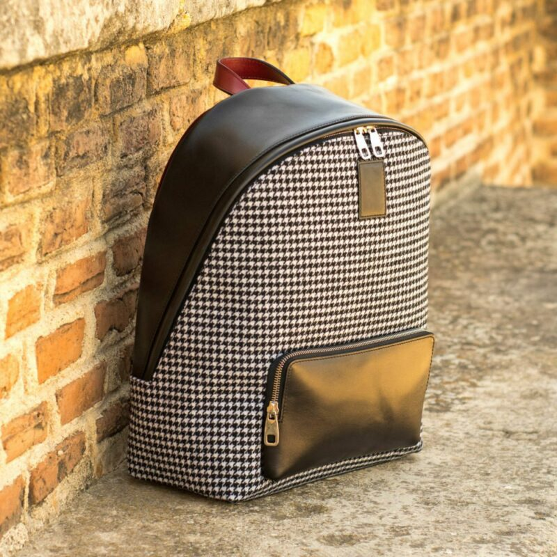 Custom Made Backpack in Houndstooth and Black Painted Calf