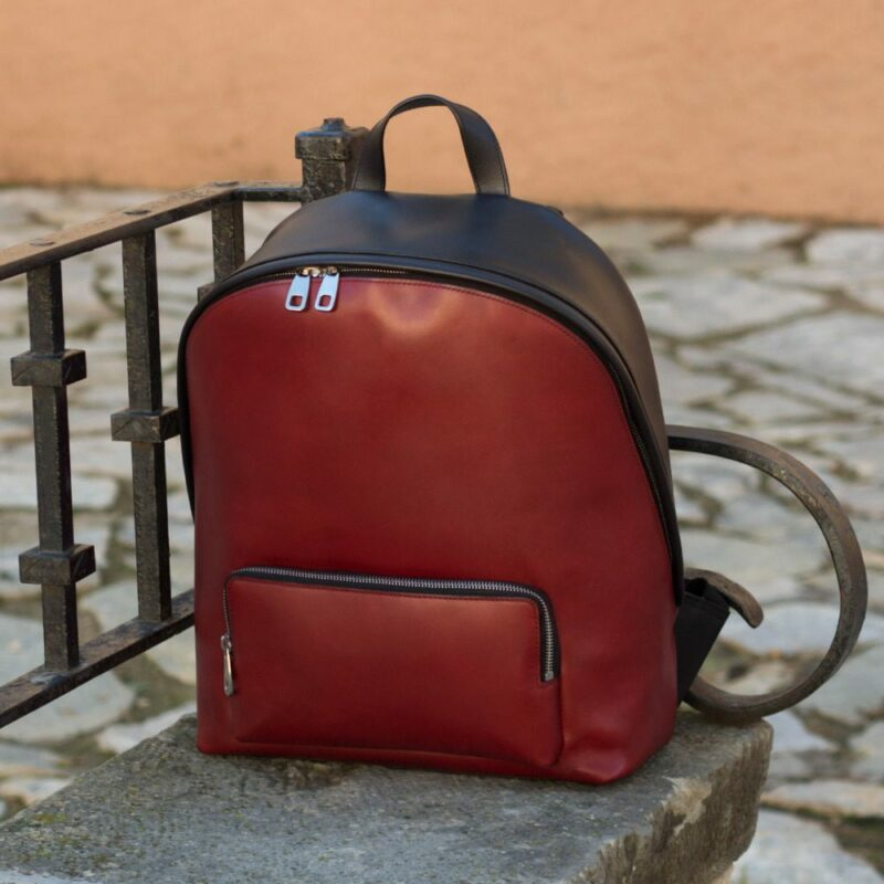 Custom Made Backpack in Houndstooth with Black and Red Painted Calf Leather