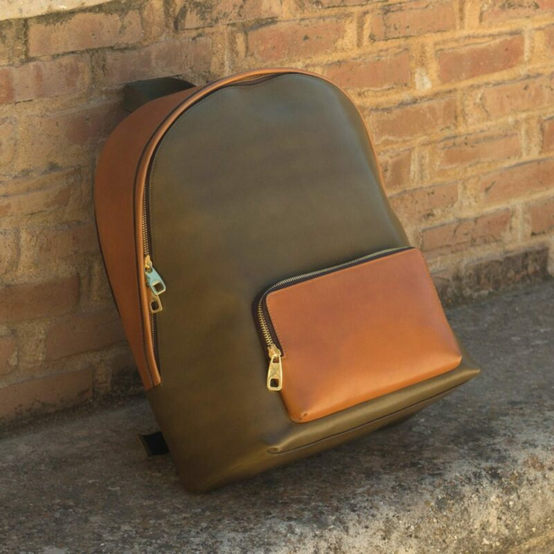 Custom Made Backpack in Olive and Cognac Painted Calf