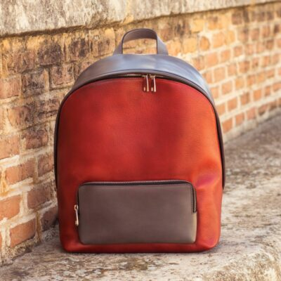 Custom Made Backpack in Red Painted Full Grain Leather and Grey Painted Calf