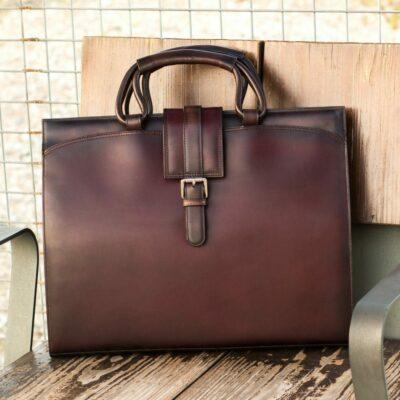 Custom Made Briefcase in Burgundy and Dark Brown Painted Calf