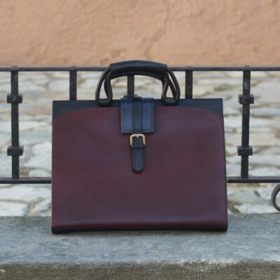 Custom Made Briefcase in Burgundy and Navy Blue Painted Calf
