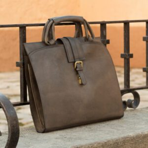 Custom Made Briefcase in Grey Painted Full Grain Leather