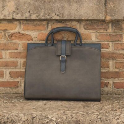 Custom Made Briefcase in Grey and Navy Blue Painted Calf