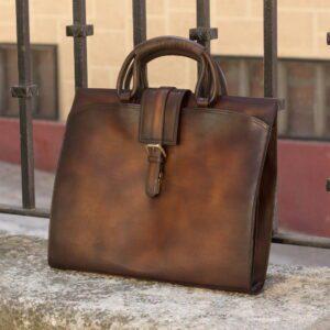 Custom Made Briefcase in Medium Brown Painted Calf