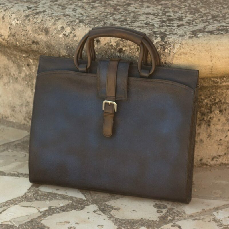 Custom Made Briefcase in Navy Blue Full Grain Leather