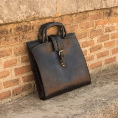 Custom Made Briefcase in Navy Blue and Grey Painted Calf