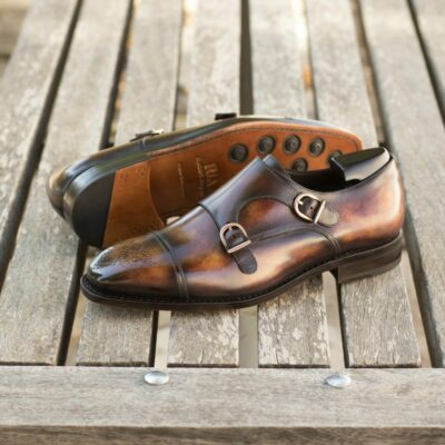 Custom Made Goodyear Welt Double Monks in Italian Calf Leather with a Fire Museum Hand Patina Finish