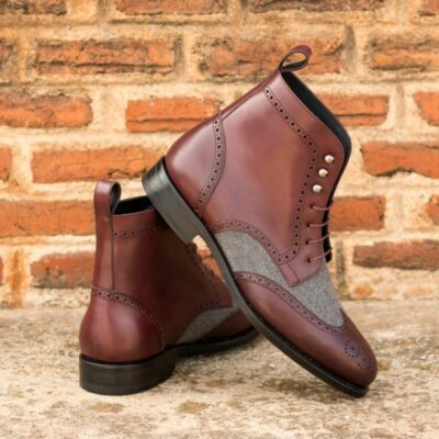 Custom Made Goodyear Welt Men's Military Brogue Boot in Burgundy Painted Calf and Light Grey Flannel