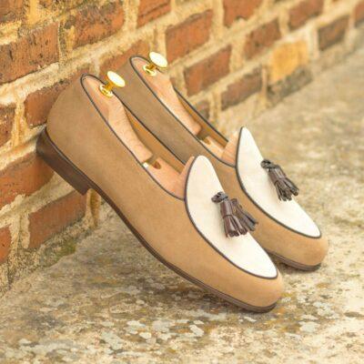 Custom Made Men's Belgian Slipper in Ivory and Camel Suede