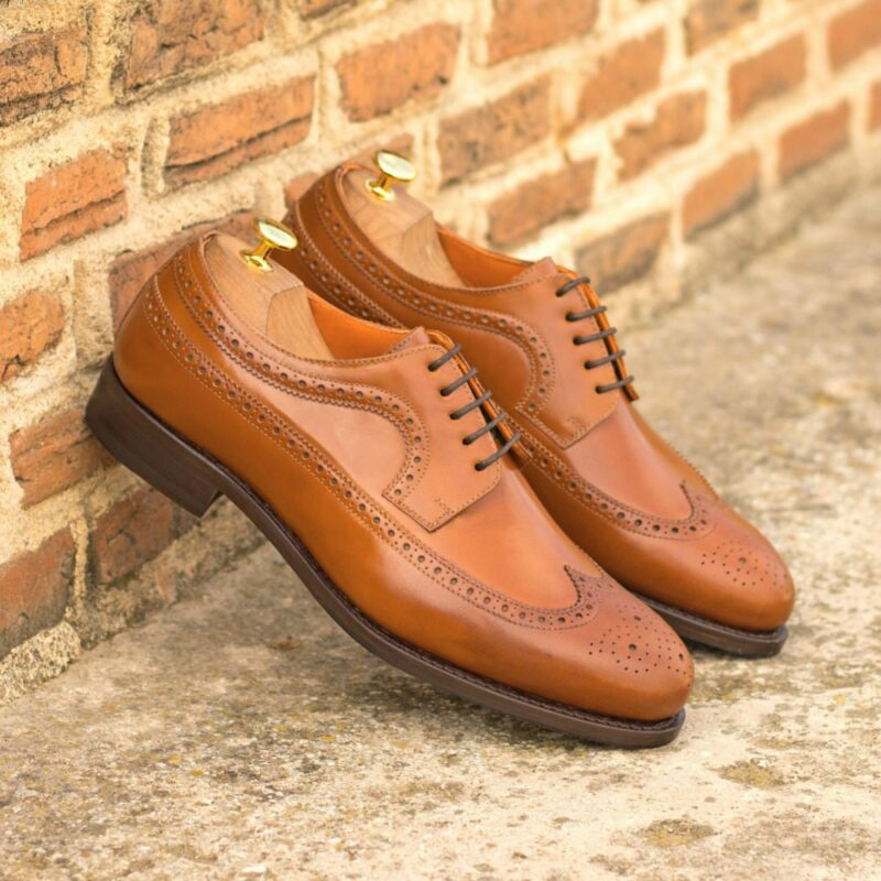Custom Made Men's Goodyear Welt Longwing Blucher in Cognac Shell Cordovan Leather