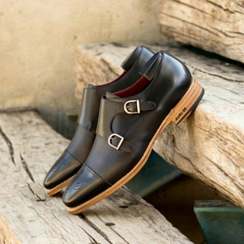 Custom Made Men's Goodyear Welted Double Monks in Black Box Calf Leather and Black Full Grain Leather