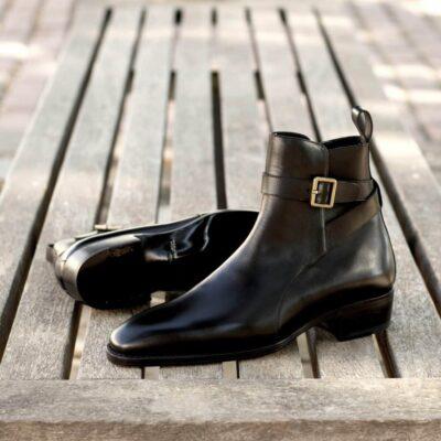 Custom Made Men's Goodyear Welted Jodhpur Boot in Black Box Calf Leather
