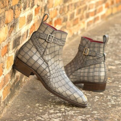 Custom Made Men's Goodyear Welted Jodhpur Boot in Grey Painted Croco Embossed Calf