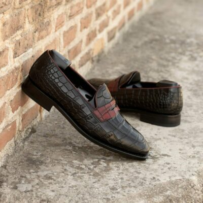 Custom Made Men's Goodyear Welted Mask Loafers in Black and Red Croco