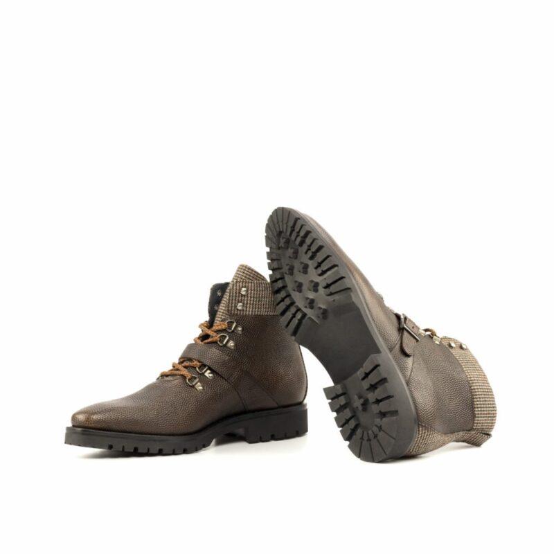 Custom Made Men's Hiking Boot in Dark Brown Pebble Grain Leather with Tweed