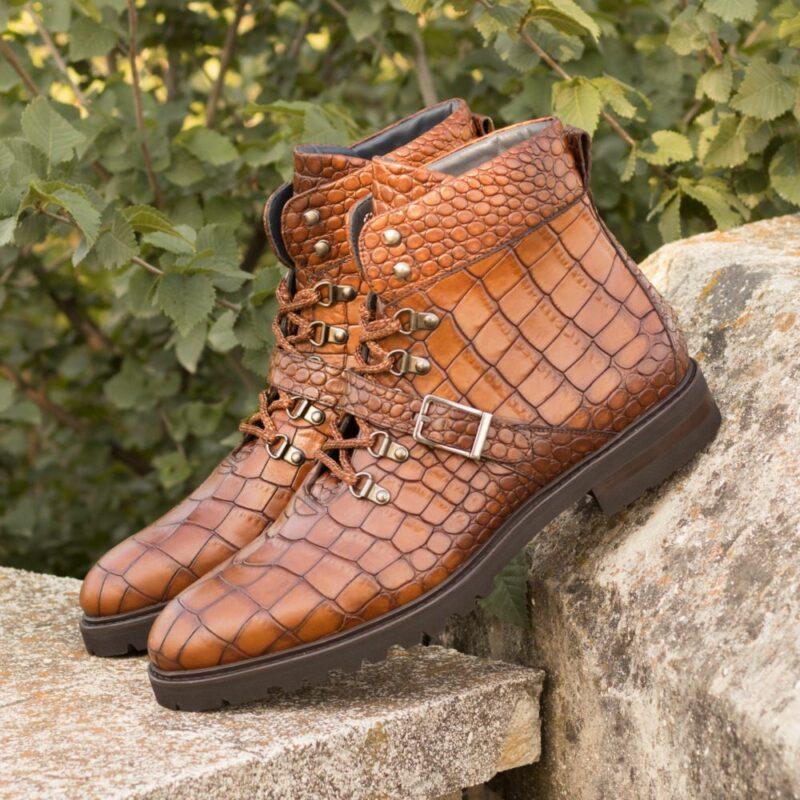 Custom Made Men's Hiking Boot in Medium Brown Painted Croco Embossed Calf