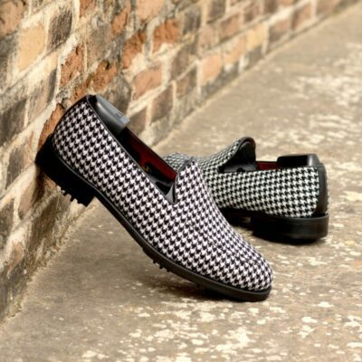 Custom Made Men's Loafer Golf Shoes in Houndstooth and Black Box Calf with Softspikes®