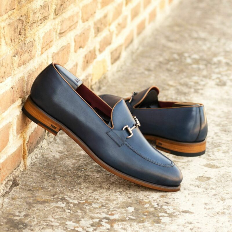 Custom Made Men's Loafers in Navy Blue Painted Calf