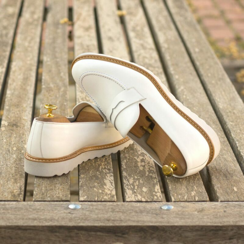 Custom Made Men's Loafers in White Box Calf Leather