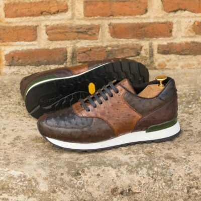 Custom Made Men's Sneaker in Multi Color Genuine Ostrich