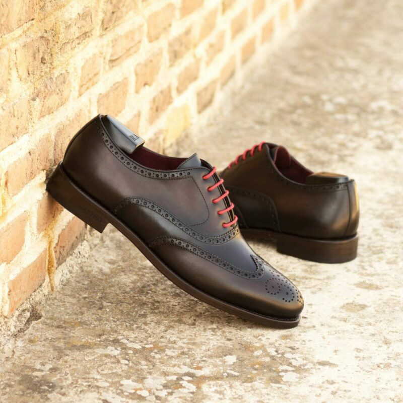 Custom Made Men's Wingtip in Burnished Navy Blue and Dark Brown Painted Calf