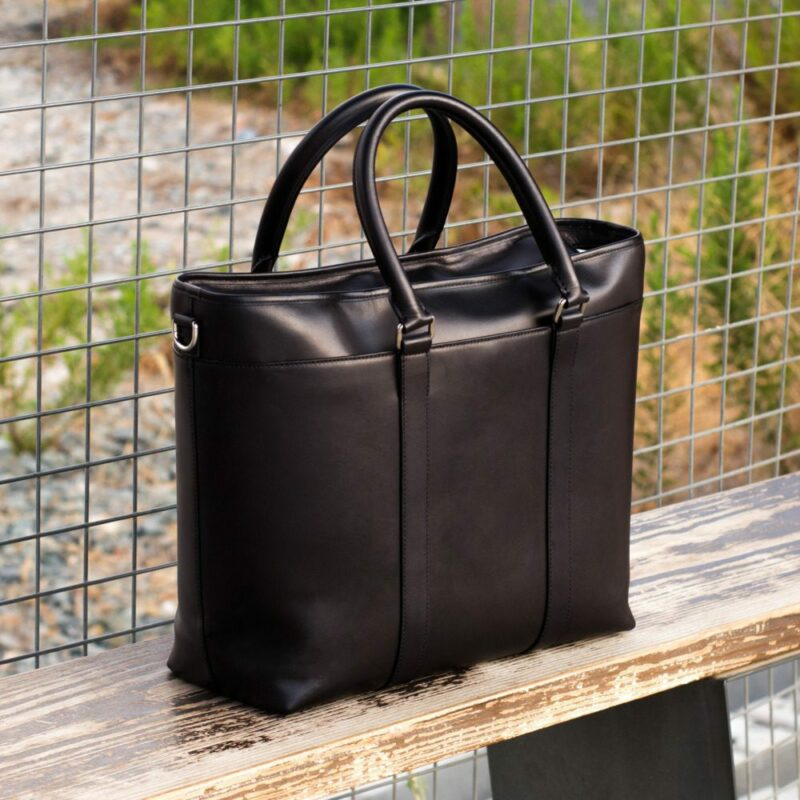 Custom Made Tote Bag in Black Painted Calf Leather