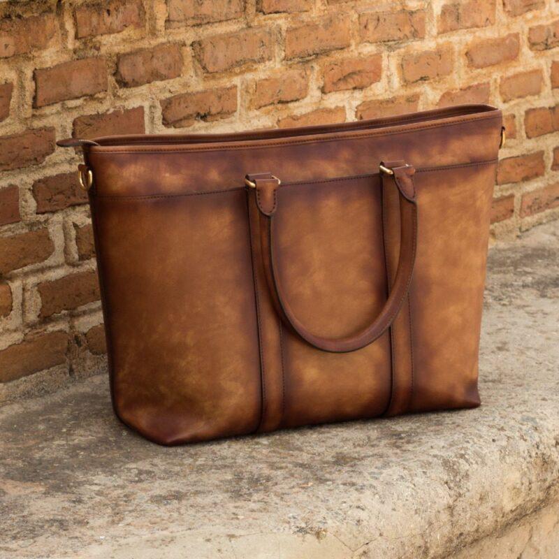 Custom Made Tote Bag in Burnished Medium Brown Painted Calf