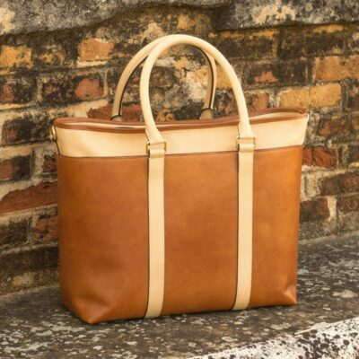 Custom Made Tote Bag in Cognac Painted Calf and Fawn Full Grain Leather