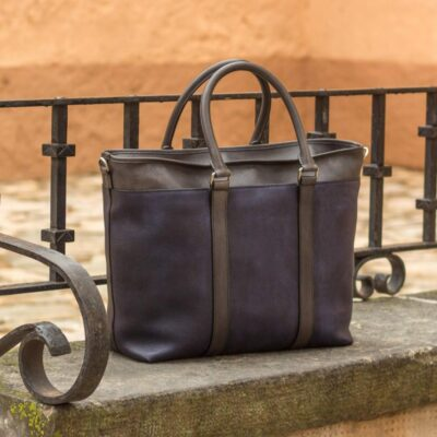 Custom Made Tote Bag in Navy Blue and Grey Full Grain Leather