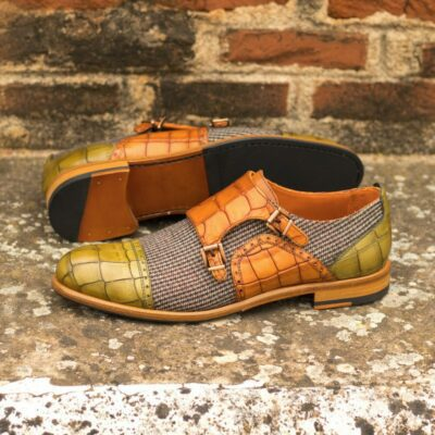 Custom Made Women's Double Monks in Cognac and Olive Painted Croco with Tweed