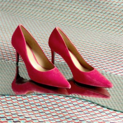 Custom Made Women's Florence High Heel in Passion Red Italian Suede