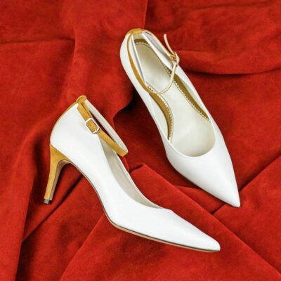 Custom Made Women's Florence High Heel in Pure White Nappa Leather