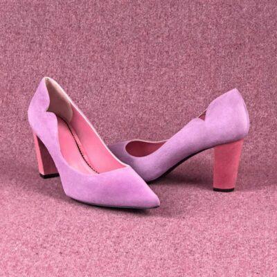 Custom Made Women's Genoa High Heel in Hydrangea Violet Italian Suede