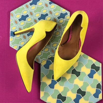 Custom Made Women's Genoa High Heel in Lemon Yellow Italian Suede
