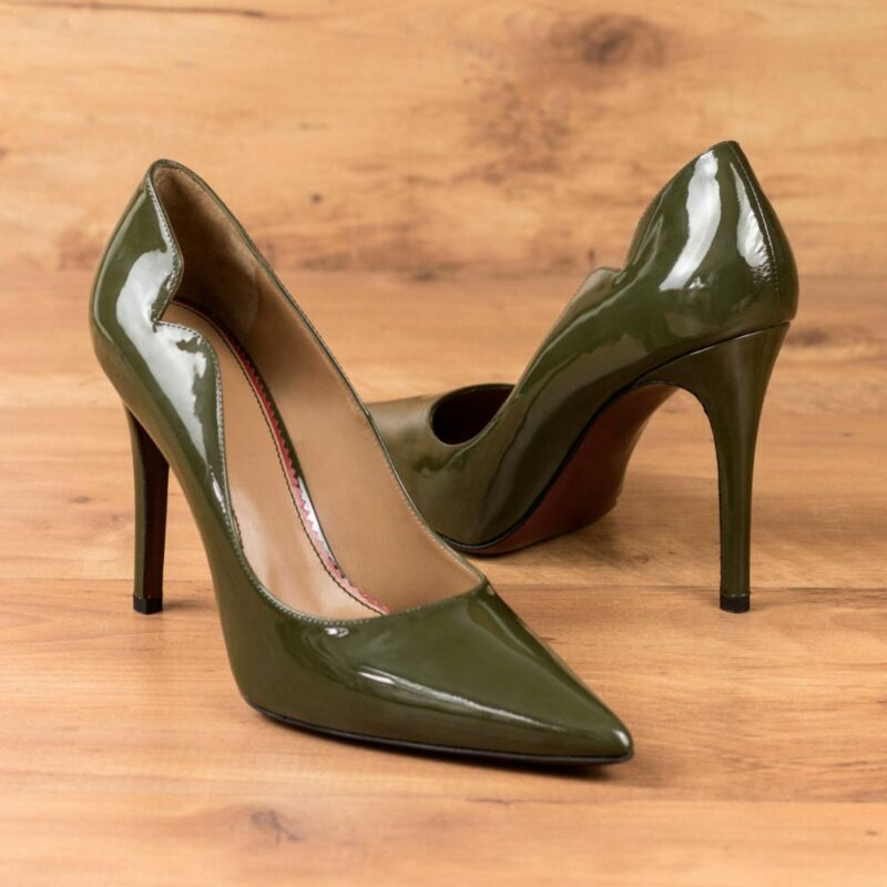 Custom Made Women's Genoa High Heel in Military Green Super Soft Patent Leather