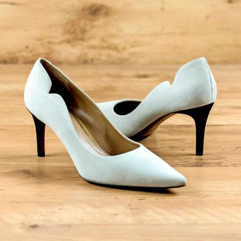 Custom Made Women's Genoa High Heel in Stone Grey Italian Suede