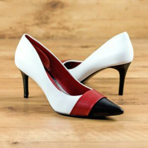 Custom Made Women's Milan High Heel in Pure White and Black Nappa Leather