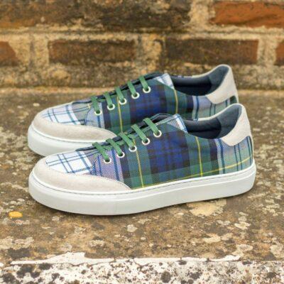 Custom Made Women's Tennis Shoe in Tartan and White Kid Suede