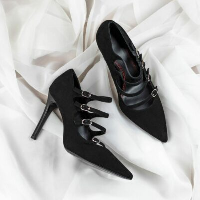 Custom Made Women's Venice High Heel in Black Italian Suede