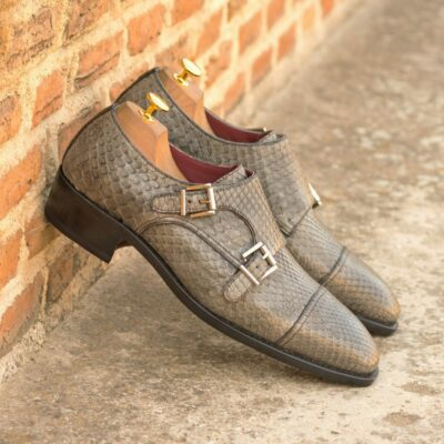Custom Made Goodyear Welt Double Monks in Grey and Black Genuine Python