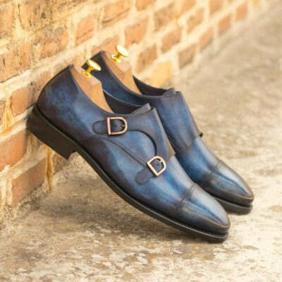 Custom Made Goodyear Welt Double Monks in Italian Calf Leather with a Denim Blue Hand Patina Finish