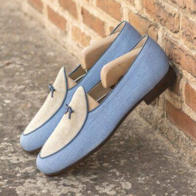 Custom Made Men's Belgian Slipper in Blue and Ice Linen