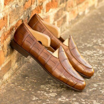 Custom Made Men's Belgian Slipper in Medium Brown Genuine Alligator