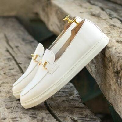 Custom Made Men's Belgian Sneaker in White Box Calf Leather