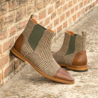 Custom Made Men's Chelsea Boot II in Tweed with Medium Brown Full Grain and Painted Calf