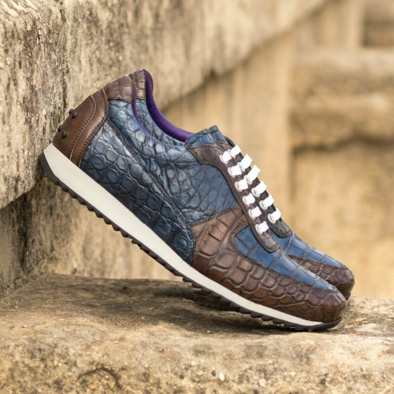 Custom Made Men's Corsini Jogger in Dark Brown and Navy Blue Genuine Alligator with Dark Brown Painted Calf Leather